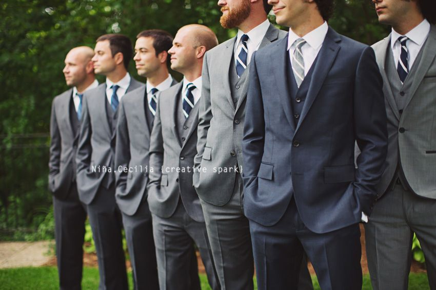 Groom Amp Groomsmen Pose Different Color Tux On Groom