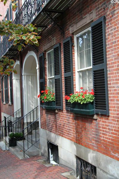 Beacon Hill Brick Row Houses With Flower Boxes Boston Ma