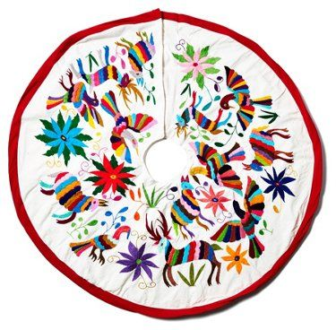 Navidad Tree Skirt, White/Multi - Stockings  Tree Skirts - Holiday