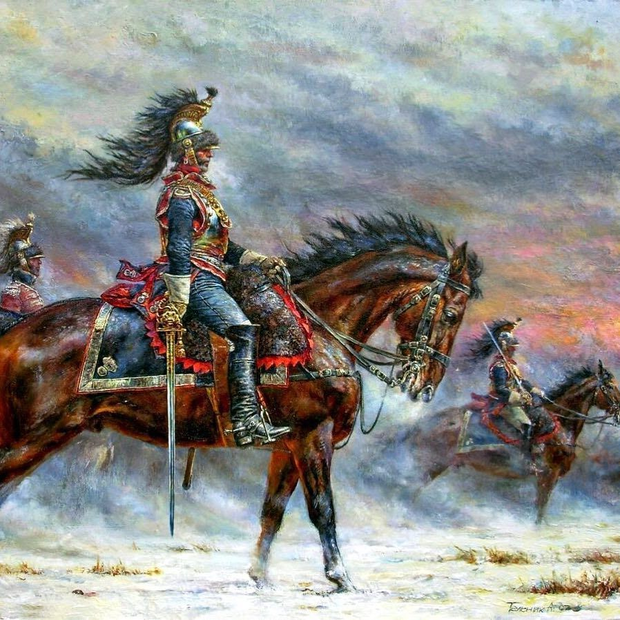French cuirassiers following the largest cavalry charge of