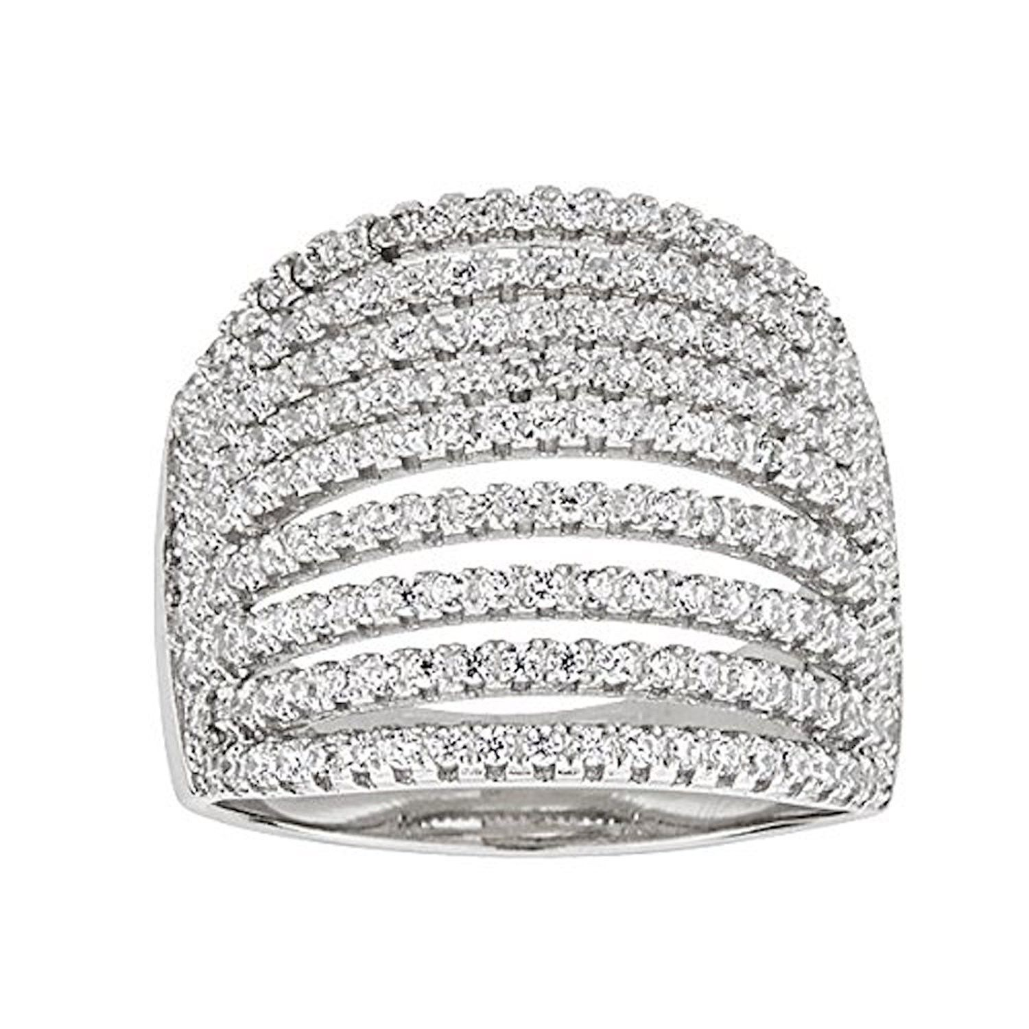 Sterling Silver Rhodium Micropave Multi-Row Dome Cubic Zirconia Ring