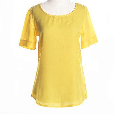 Summer New Women Burst Models Loose Big Yards Puff Short Sleeve Solid Color Loose Chiffon Shirt 9039