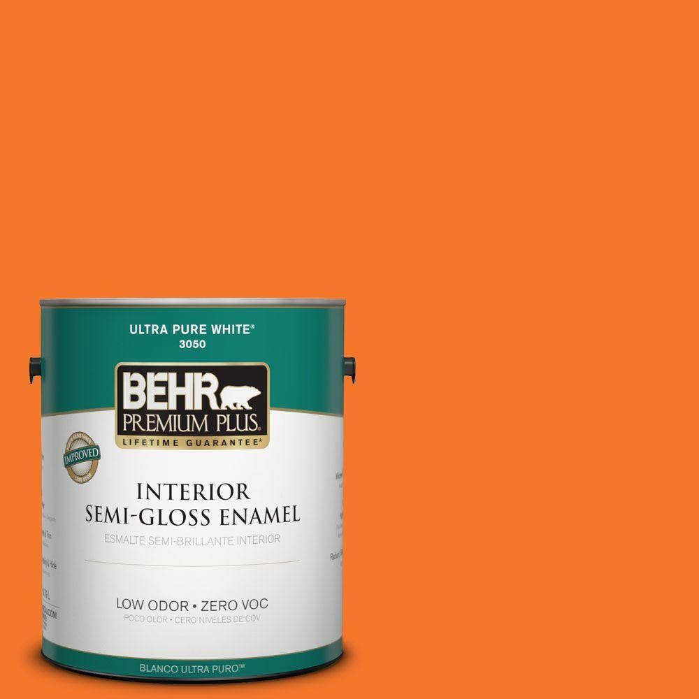 BEHR Premium Plus 1-gal. #230B-7 Kumquat Zero VOC Semi-Gloss Enamel Interior Paint