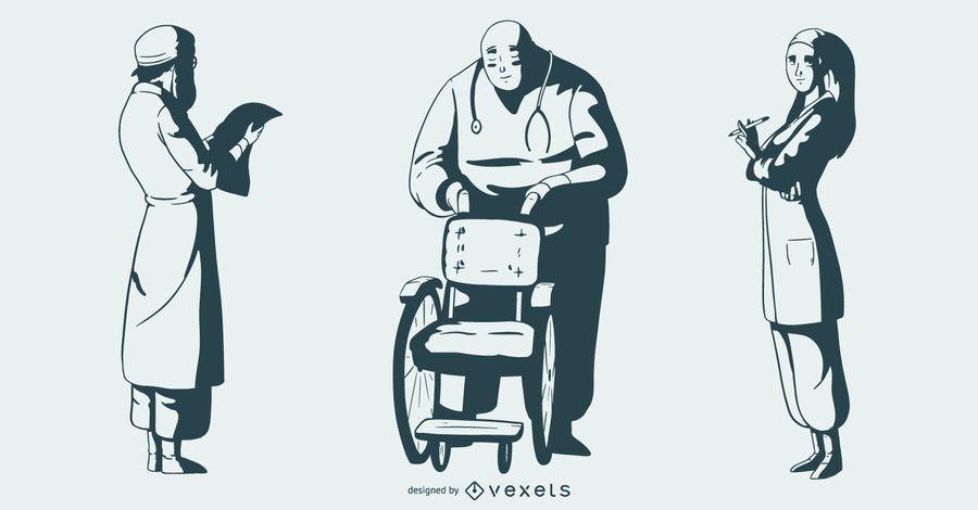 Hospital People Monotone Set #AD , #AD, #ad, #People, #Monotone, #Set, #Hospital