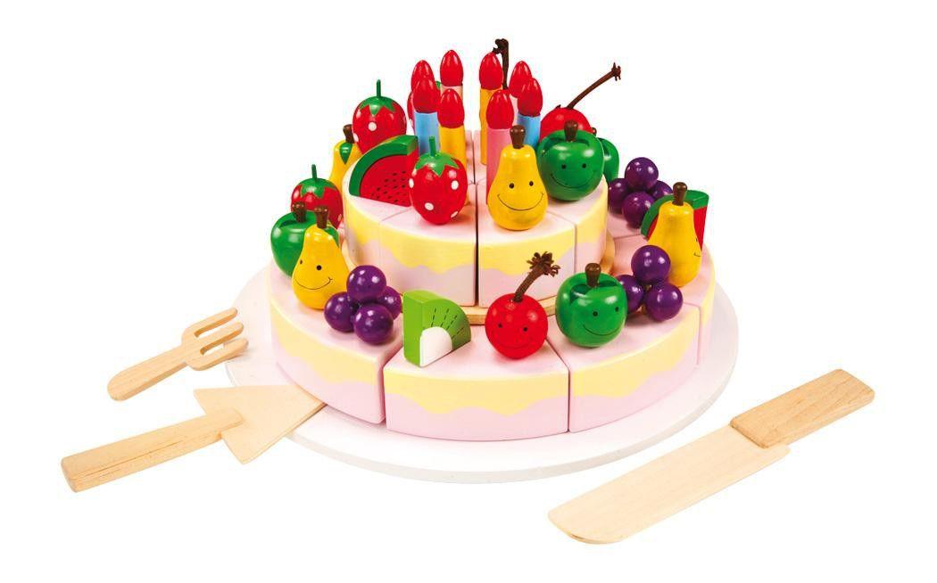 houten speelgoed taart met kaarsjes