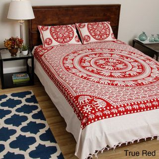Monochrome Bedspread and Pillowcases from Pilkhuwa with Printed Mandala and Elephant Pairs (India) - Free Shipping Today - Overstock.com - 15558542 - Mobile