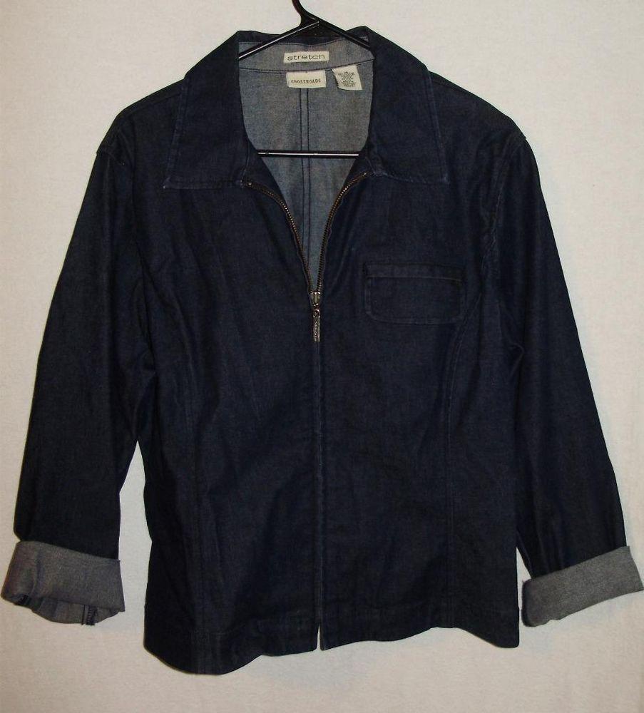 Crossroads Denim Jacket Lightweight Womens Size 16 Blue Zipper Free Shipping #Crossroads #BasicJacket