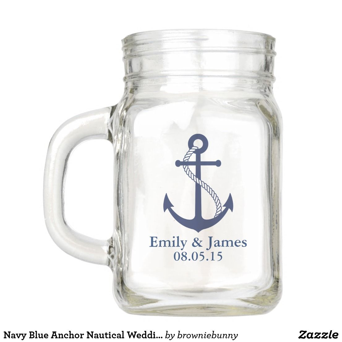 Navy Blue Anchor Nautical Wedding Favor Mason Jar | Nautical wedding ...