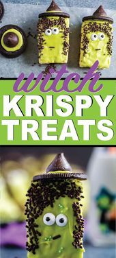 These witches are the cutest Halloween Rice Krispie treat ideas! They're simpl... - #Cutest #Halloween #Ideas #Krispie #Rice #Simpl #Theyre #treat #Witches