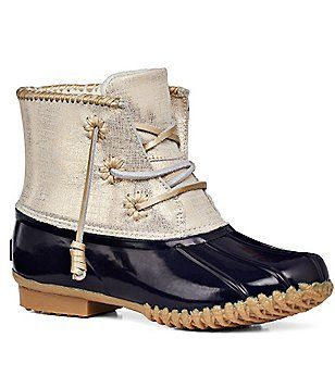 a290219a81f Jack Rogers Chloe Metallic Rubber Waterproof Lace Up Duck Boots ...