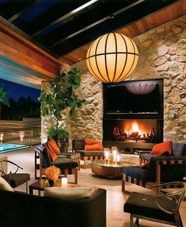 Stone Fireplace Next To The Outdoor Kitchen And A Lovely: Outdoor Patio-would Make A Great Addition To Outdoor