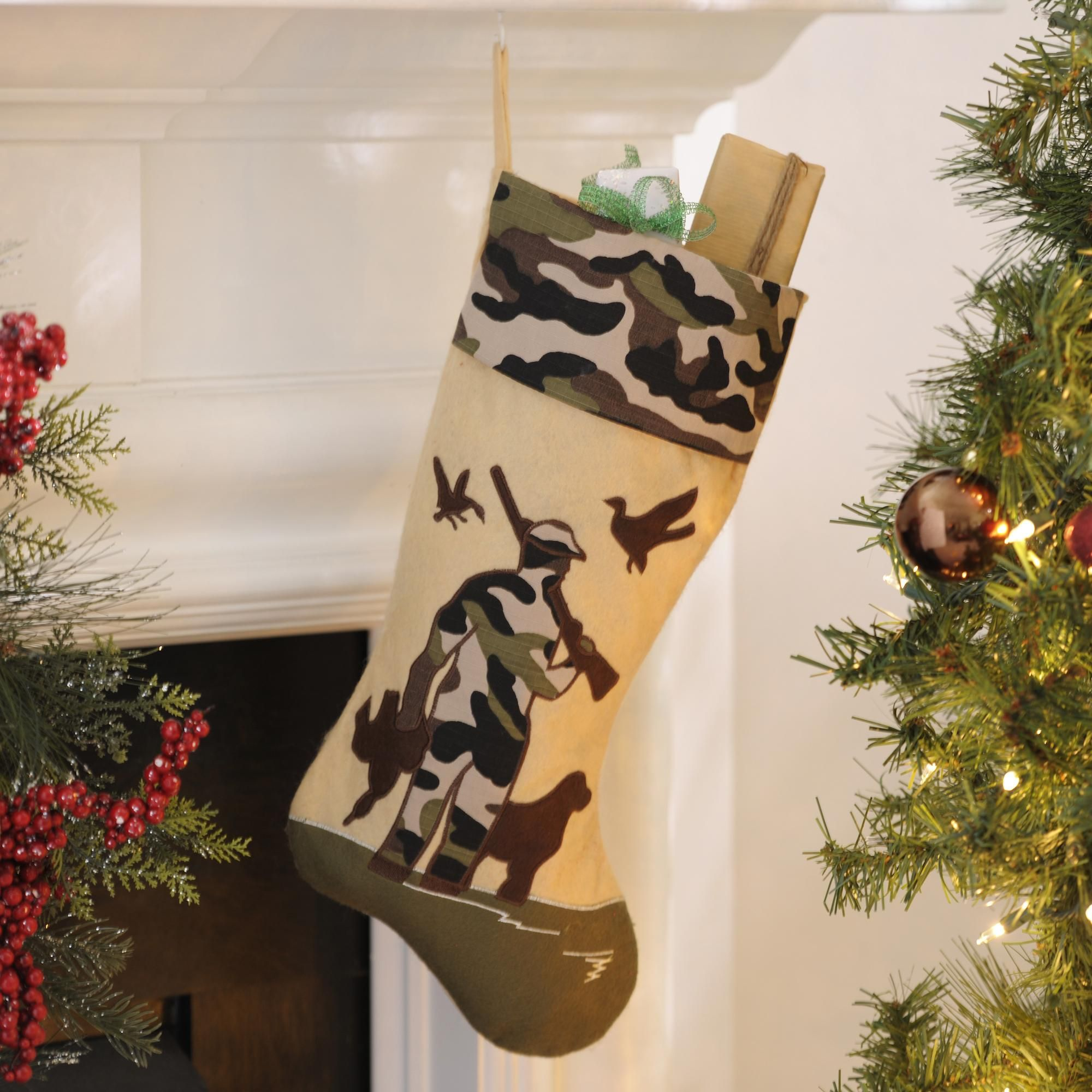 let his stocking reflect his personality with the camouflage bird hunting christmas stocking this is a great gift for any man who loves to hunt