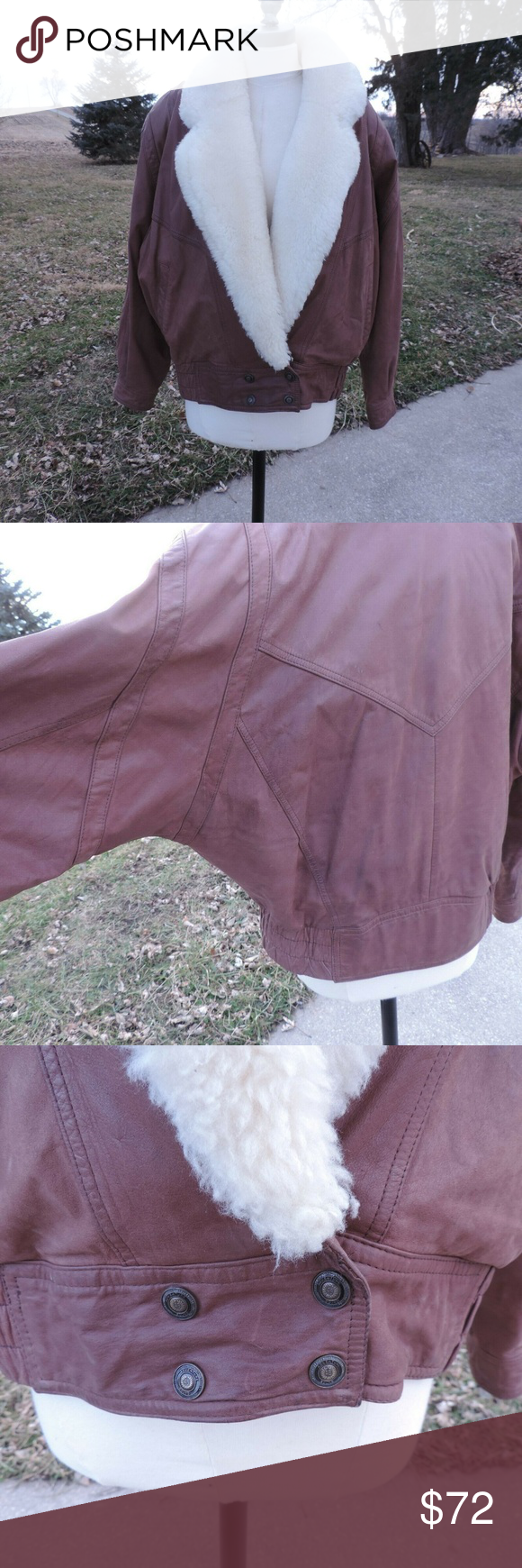Adventure Bound Vtg Leather Bomber Coat Mouton Great