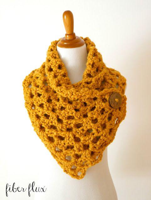 Fiber Flux: Free Crochet Pattern...Autumn Morning Button Cowl ...