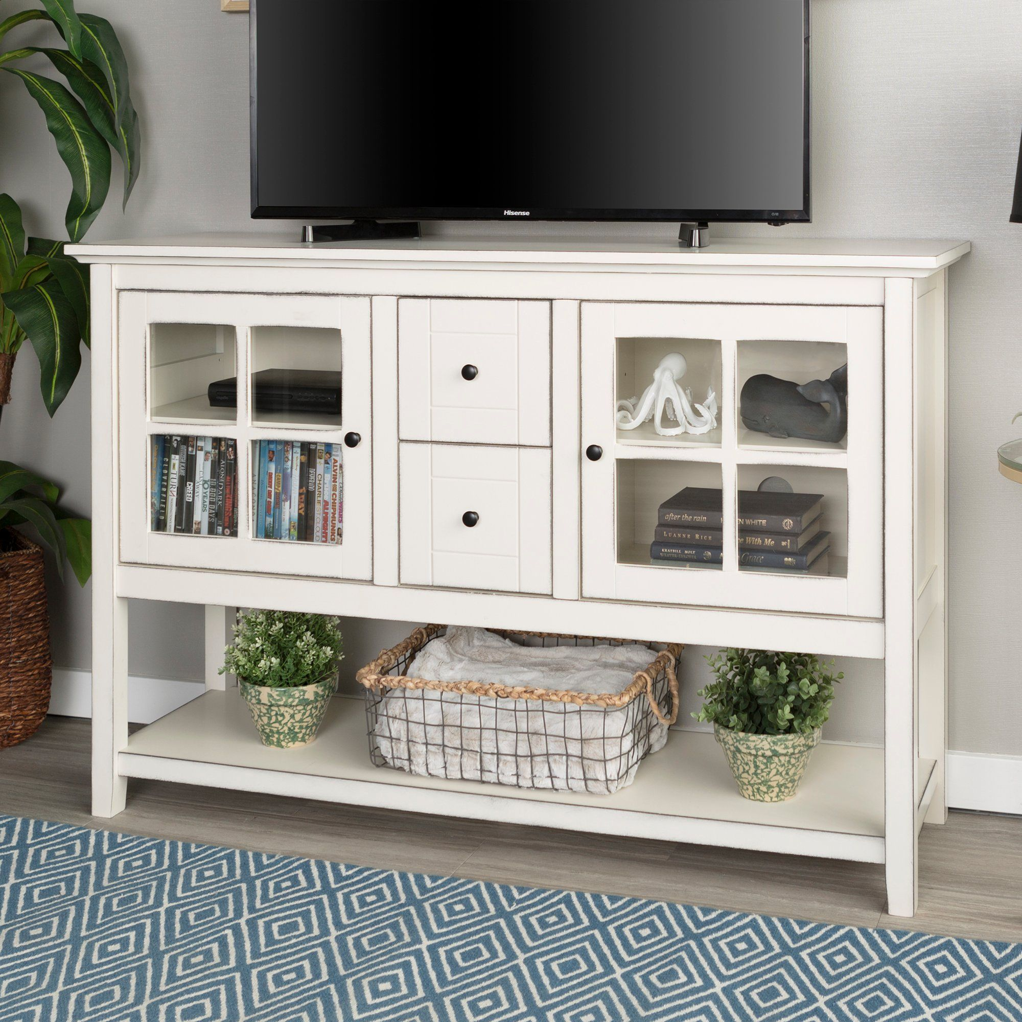 Antique White 52 Inch Buffet Tv Stand White Furniture Living Room Home Kitchens Furniture