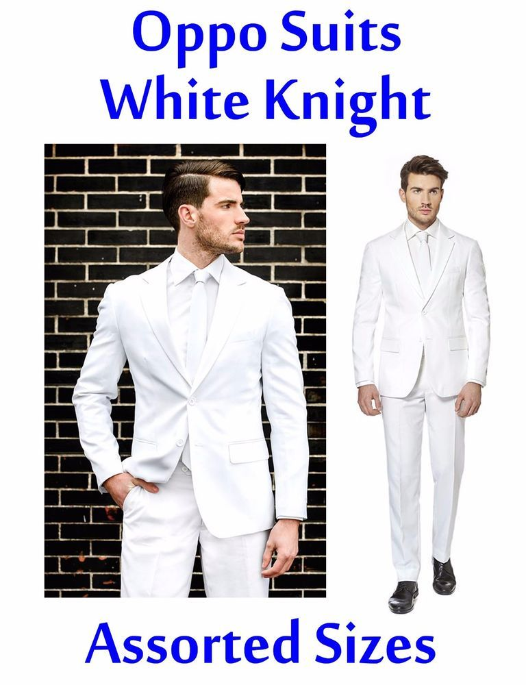 47fd97bd43d6 OppoSuits Mens Slim Fit Novelty Suit & Tie Set White Knight NEW $99 RET  #OppSuits #Suit