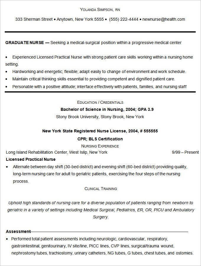 Sample Nurse Resume Template  Mac Resume Template  Great For