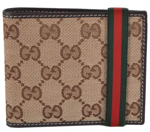 0c4e286ed004 New Gucci Men's 152621 Beige Canvas GG Guccissima Red Green Web Band Wallet