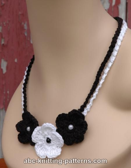 ABC Knitting Patterns - Black and White Crochet Flower Necklace