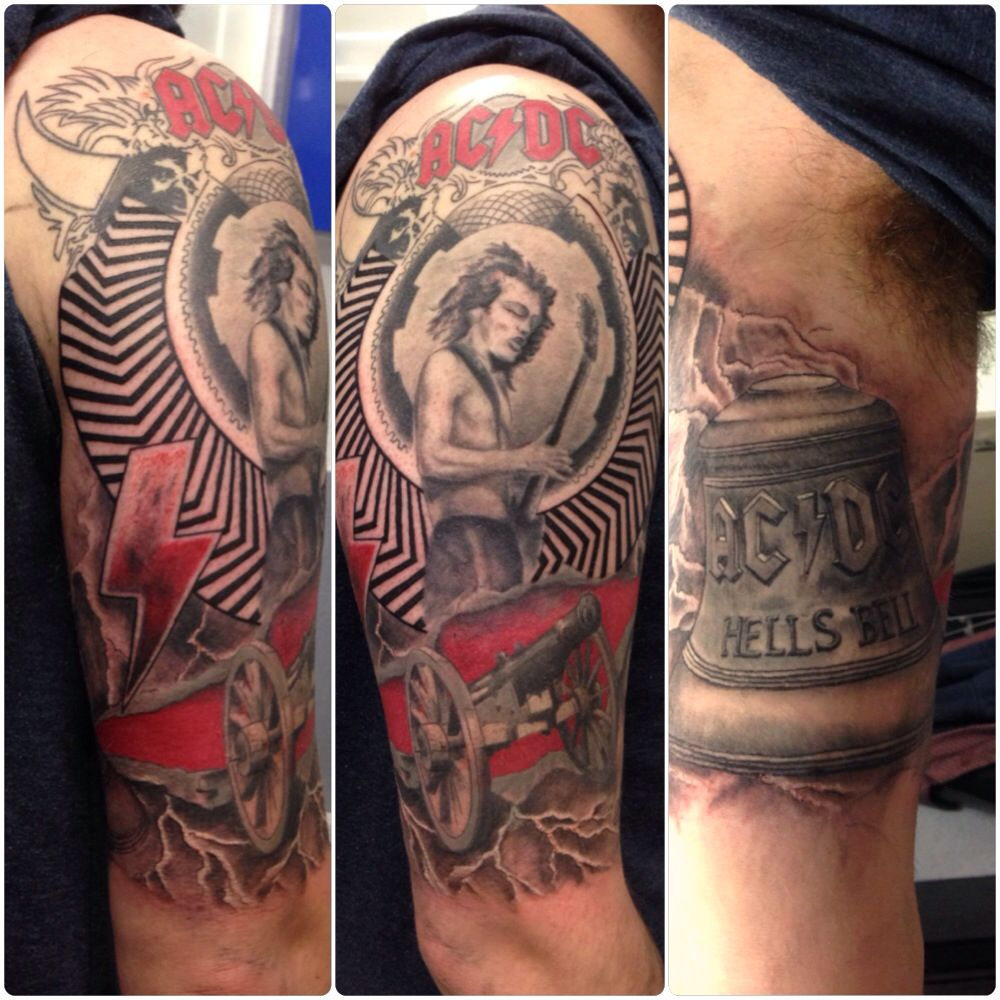 Ac dc album cover mix half sleeve tattoo by susy at for Tattoo cover sleeves