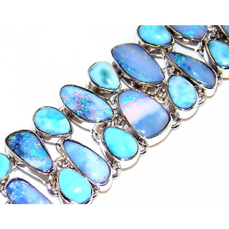 Bracelet With Fire Opal Larimar Gemstone Set In 925 Sterling Silver