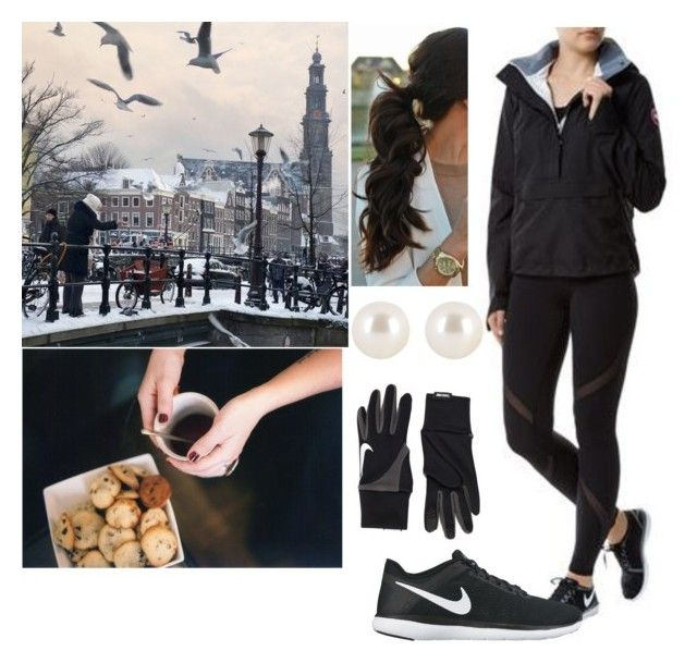 """""""Going for a chilly run in Amsterdam + warming up with coffee and muffins afterwards"""" by pompcircumstance ❤ liked on Polyvore featuring Canada Goose, NIKE and Henri Bendel"""