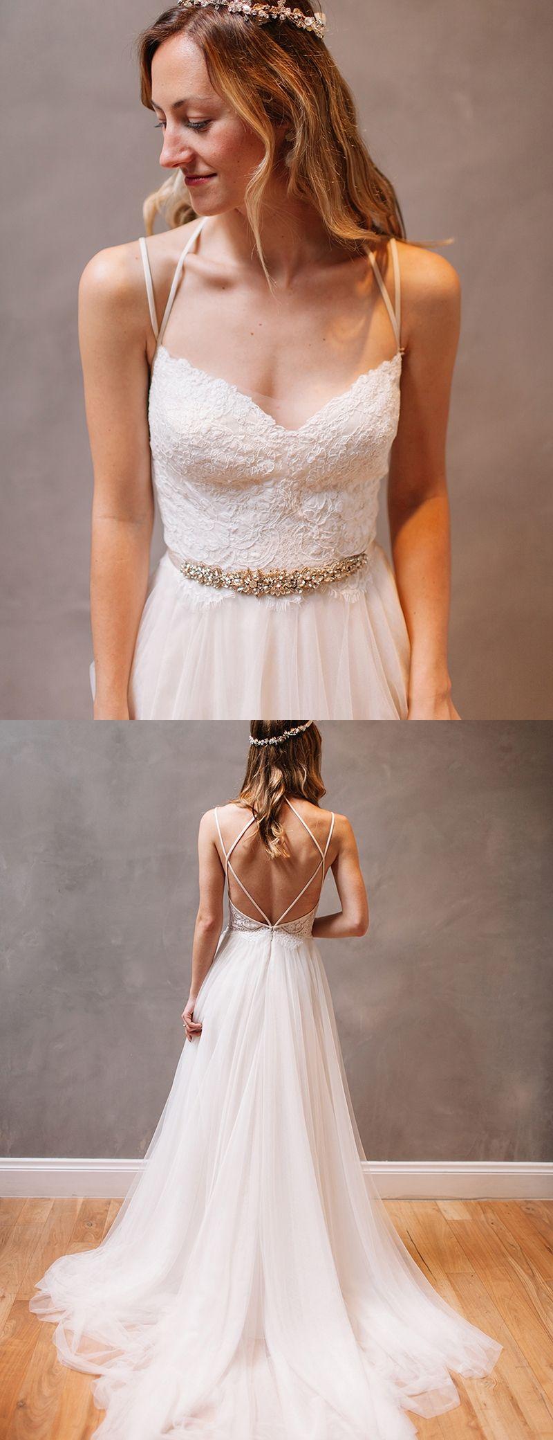 Stylish spaghetti straps sexy wedding dresses court train form