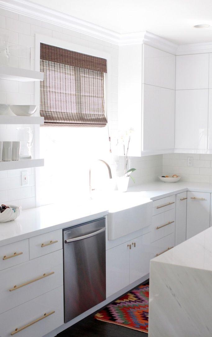 white kitchen with gold hardware sleek kitchen kitchen inspirations kitchen remodel on kitchen remodel gold hardware id=45242