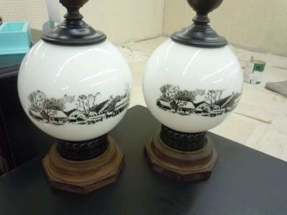 Very rare Currier & Ives farm scene lamps.
