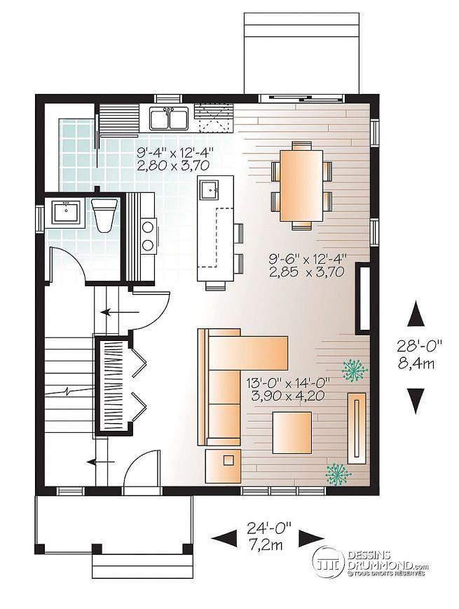 W3719 - Plan de Maison champêtre avec 3 chambres, grand îlot et
