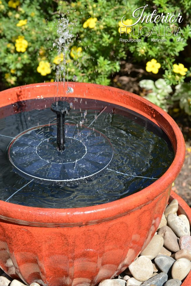 Solar Plant Pot Water Fountain In Under 15 Minutes Diy Fountain Diy Garden Fountains Diy Water Feature