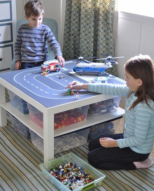 Next level up from Duplos...when Will is 5 or 6. Lego Meets Lack- lego play table with storage