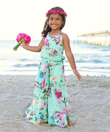 1935c9c15c7 Love this Mint Floral Palazzo Jumpsuit - Toddler   Girls on  zulily!   zulilyfinds