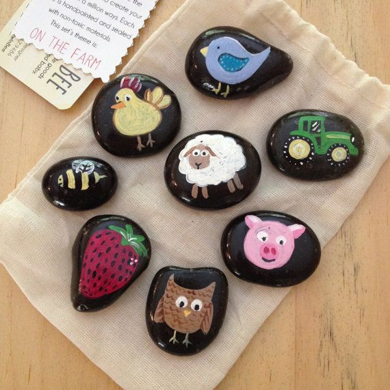 Story Stones On The Farm Storytelling Aid Hand Painted Stones Painted Rocks Kids Rock Crafts Stone Painting