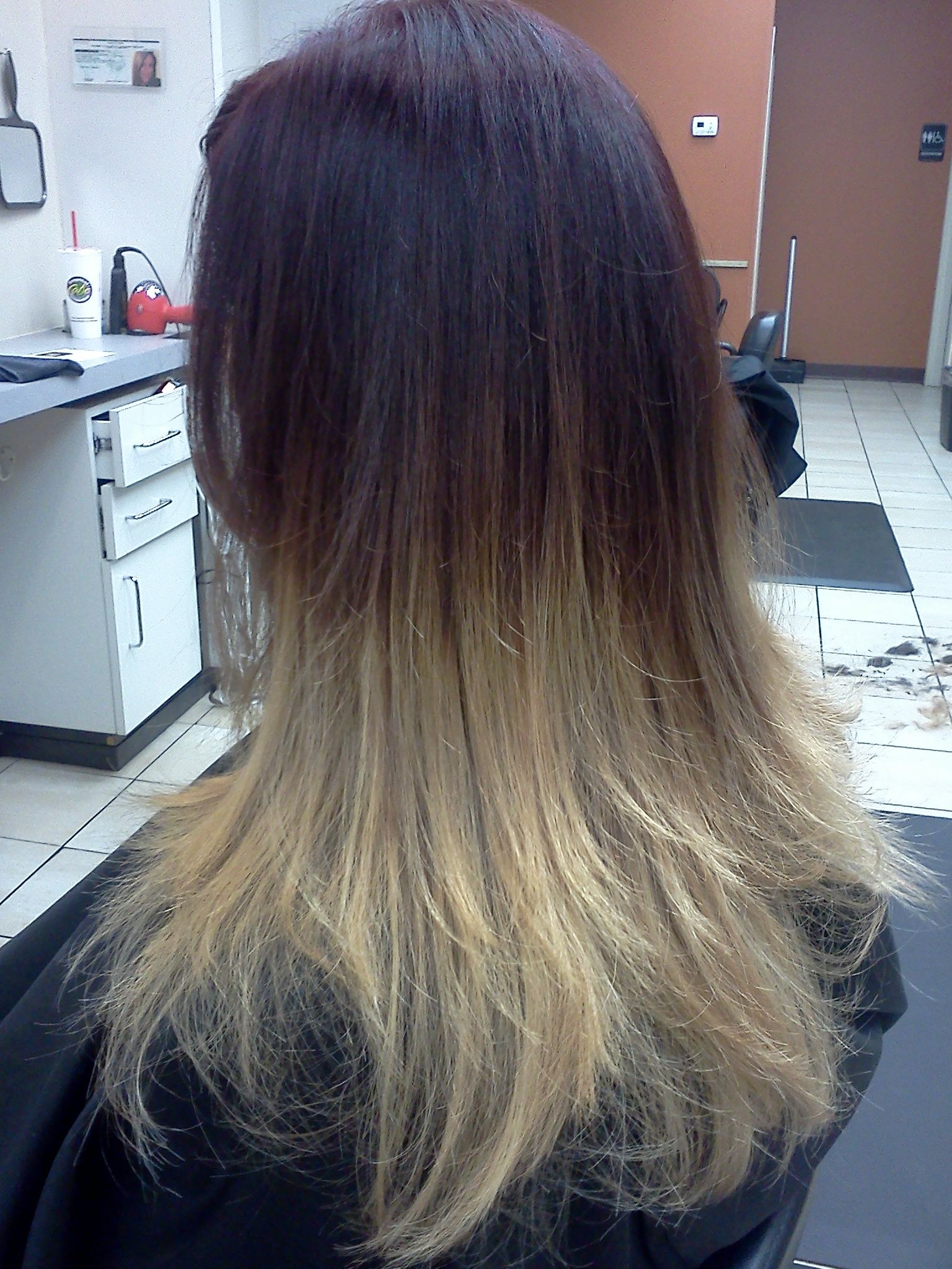 Ombre dark red violet color with the obre effect to a golden dark red violet color with the obre effect to a golden blonde done at haircuttery chimney lakes jacksonville florida by jessica pmusecretfo Image collections