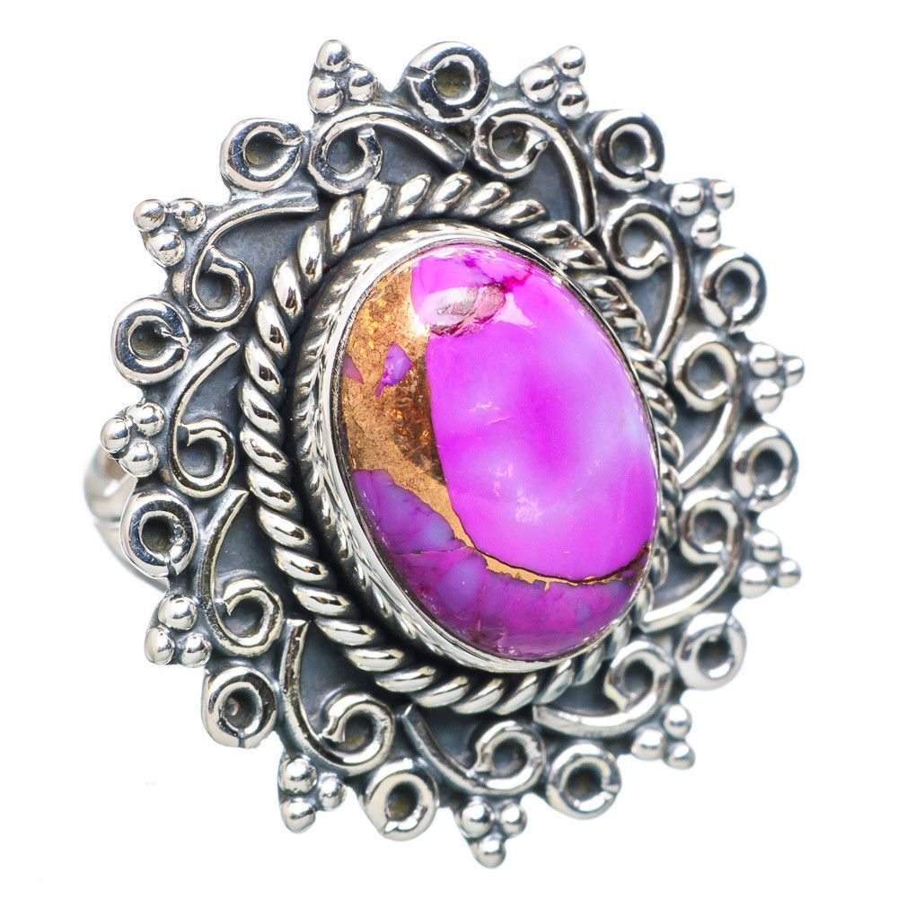 Purple Copper Composite Turquoise 925 Sterling Silver Ring Size 6.75 RING729431