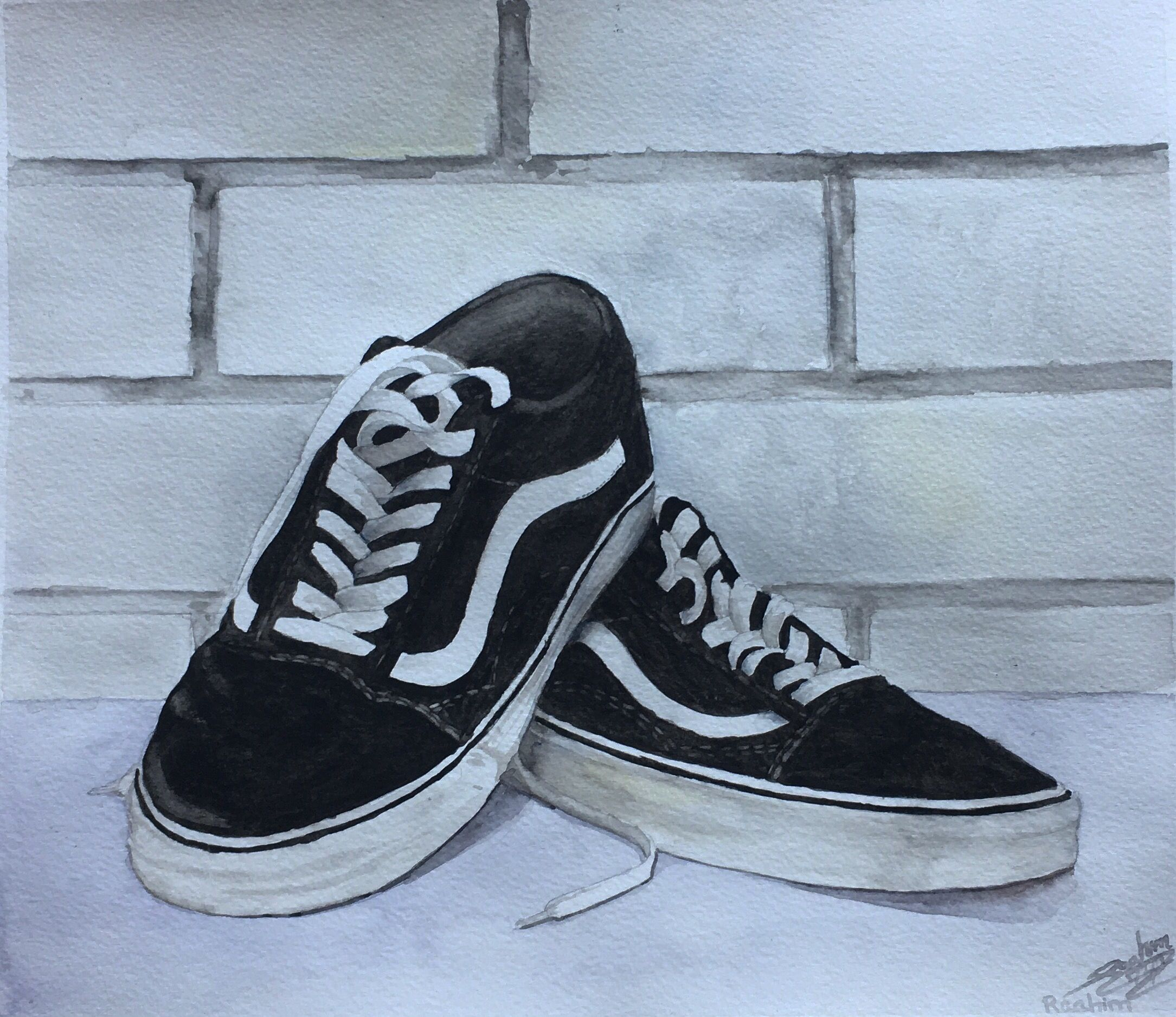Watercolor vans off the wall