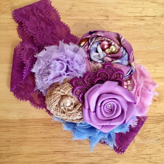 Purple Skies Pink Purple And Lavender Fabric Flower Headband Pink And Blue Shabby Chic Flower Fabric Flower Headbands Burlap Headband Fabric Flowers