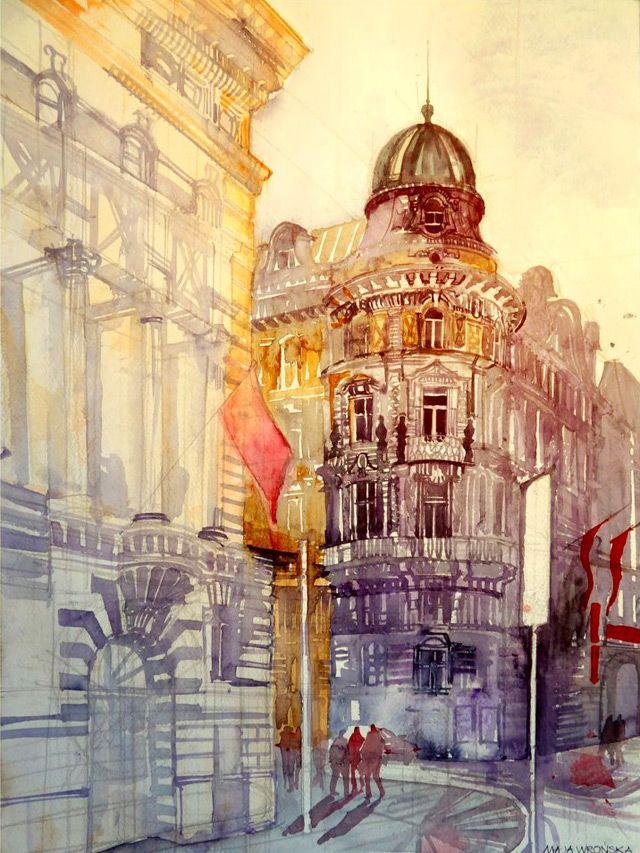 Original Watercolor Architecture Painting Vilnius Vilniaus