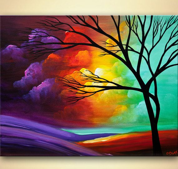 Paisaje acr lico pintura movi ndose oeste acr lico por - Pintura acrilica pared ...