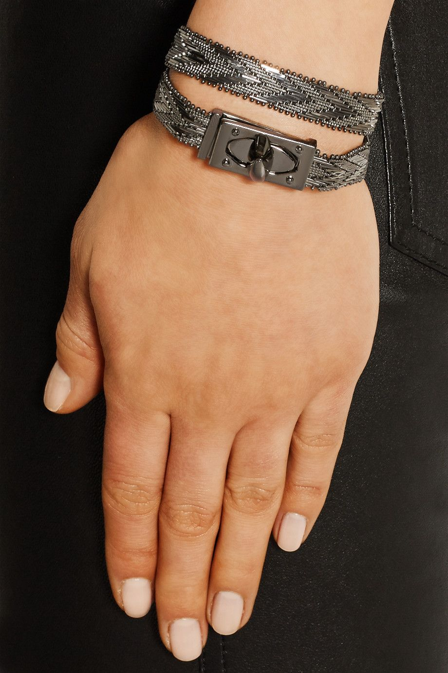 Givenchy shark lock rutheniumtone wrap bracelet baubles