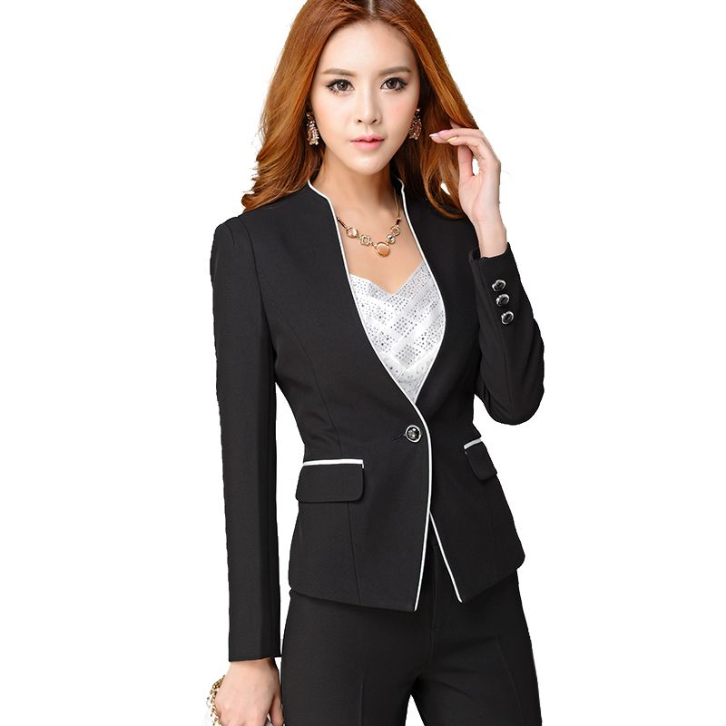 2017 Custom Made Black Las Office Suits Long Sleeve Two Pieces Formal Business Female Designers For Womens