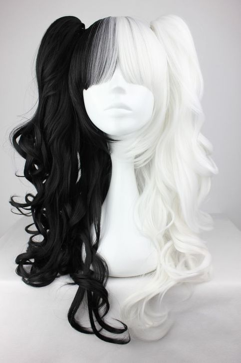 Material 100 High Temperature Fiber Color White And Black Mixed Modeling Ponytail Length 70cm 27 56inch Wig Hairstyles Cosplay Hair Hair Styles