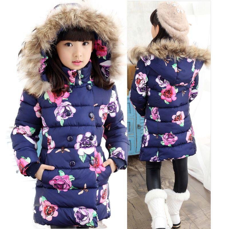 5c380e617be Niñas chaqueta de invierno para Niños Niñas Abrigo Parkas Florales Impresos  Con Capucha cuello de Piel de Niños Niñas Ropa de Abrigo Abrigos