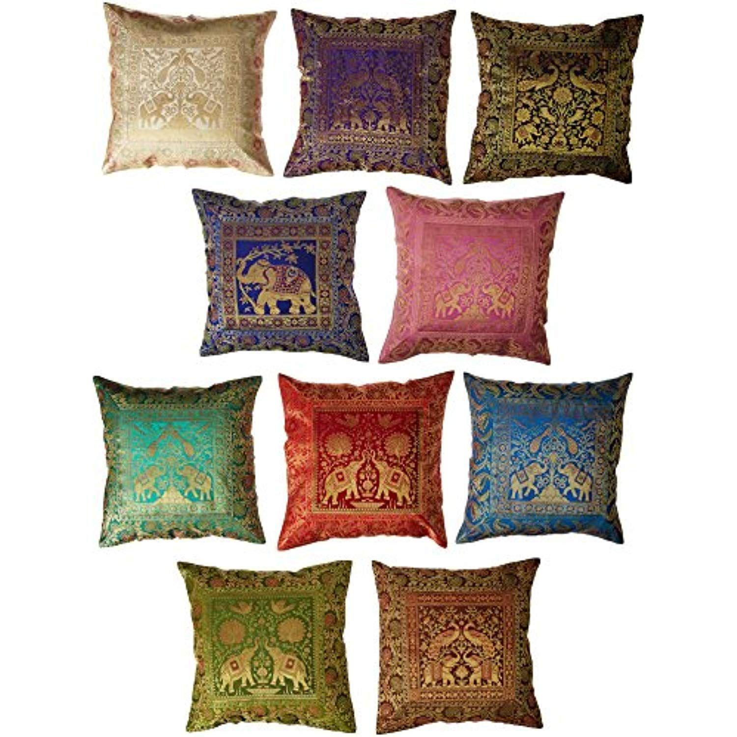 10 Pc Lot Square Silk Home Decor Cushion Cover Indian Silk Brocade Pillow Cover Handmade Banarsi Pillow Cover 16 X 16 Inch Daybed Pillows Pillows Cushions