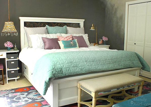 Farmhouse king size bed with storage beds with storage drawers mattress and girls Diy master bedroom makeover