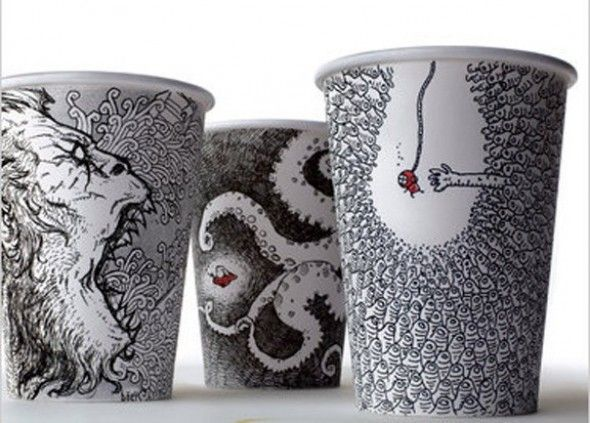 Sharpie on polystyrene coffee cup, Cheeming Boey | Pollock (Art ...
