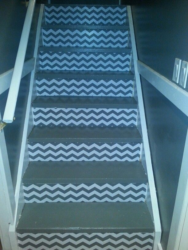 Best Chevron Stairs With Contact Paper Basement Stairs 640 x 480