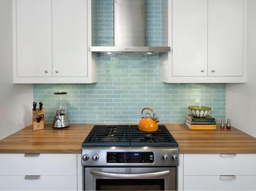 Tile Backsplash Love The Teal Galley Kitchen Renovation Galley