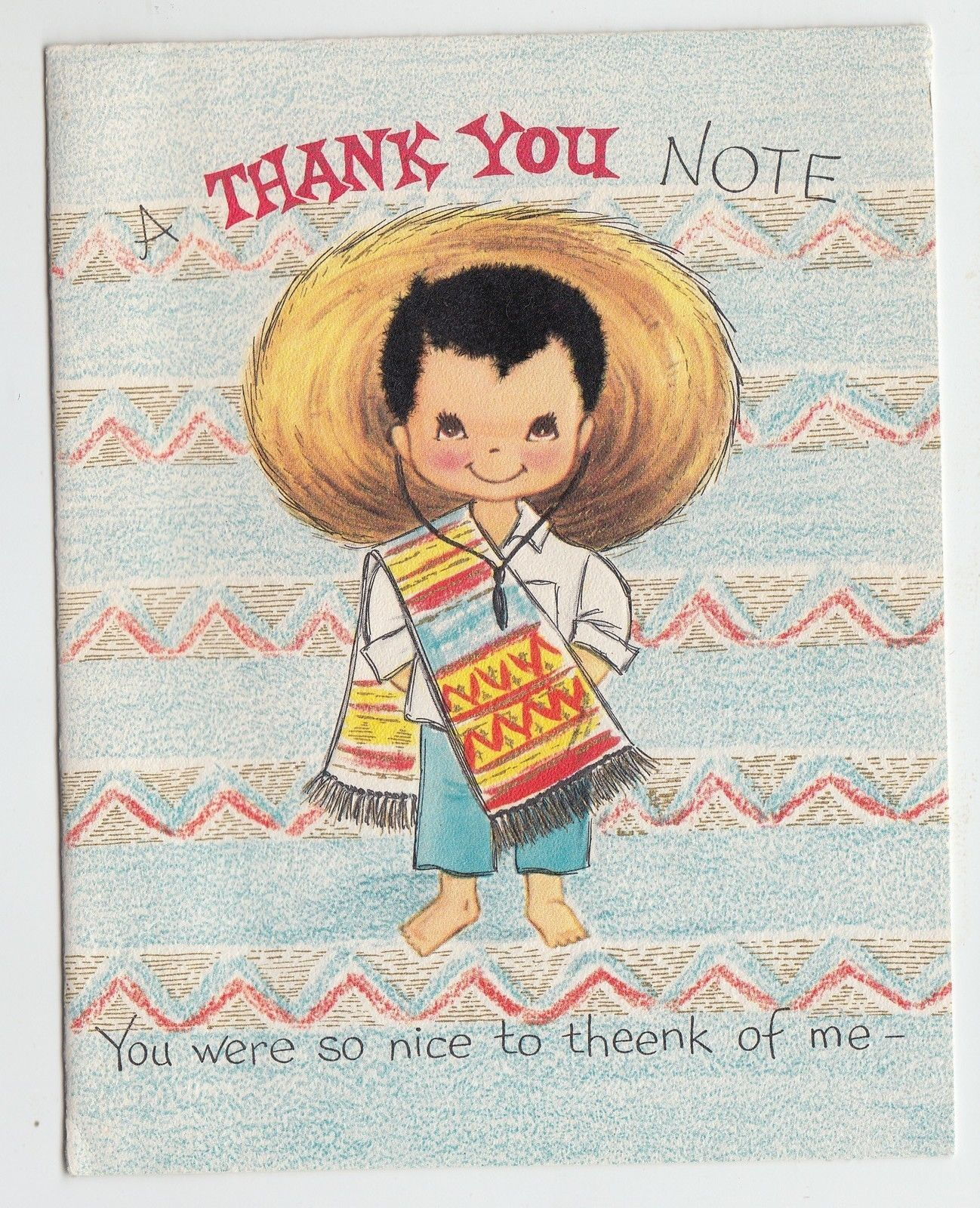 Vintage Mexican Boy with Fuzzy Hair Thank You Greeting Card   eBay
